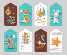 Set Of Hand Drawn Christmas Tags. Decoration Isolated Elements With Cartoon Animals. Doodles And Sketches Vector Illustration