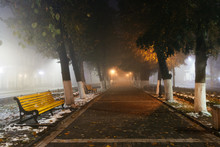 Empty Alley At Foggy Street At...