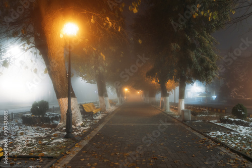 Empty alley at foggy street at night city