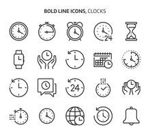 Time Related Bold Line Icon Se...