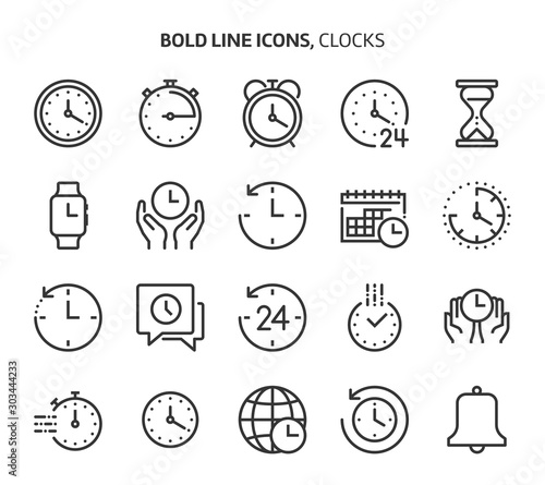 Fotografía  Time related bold line icon set