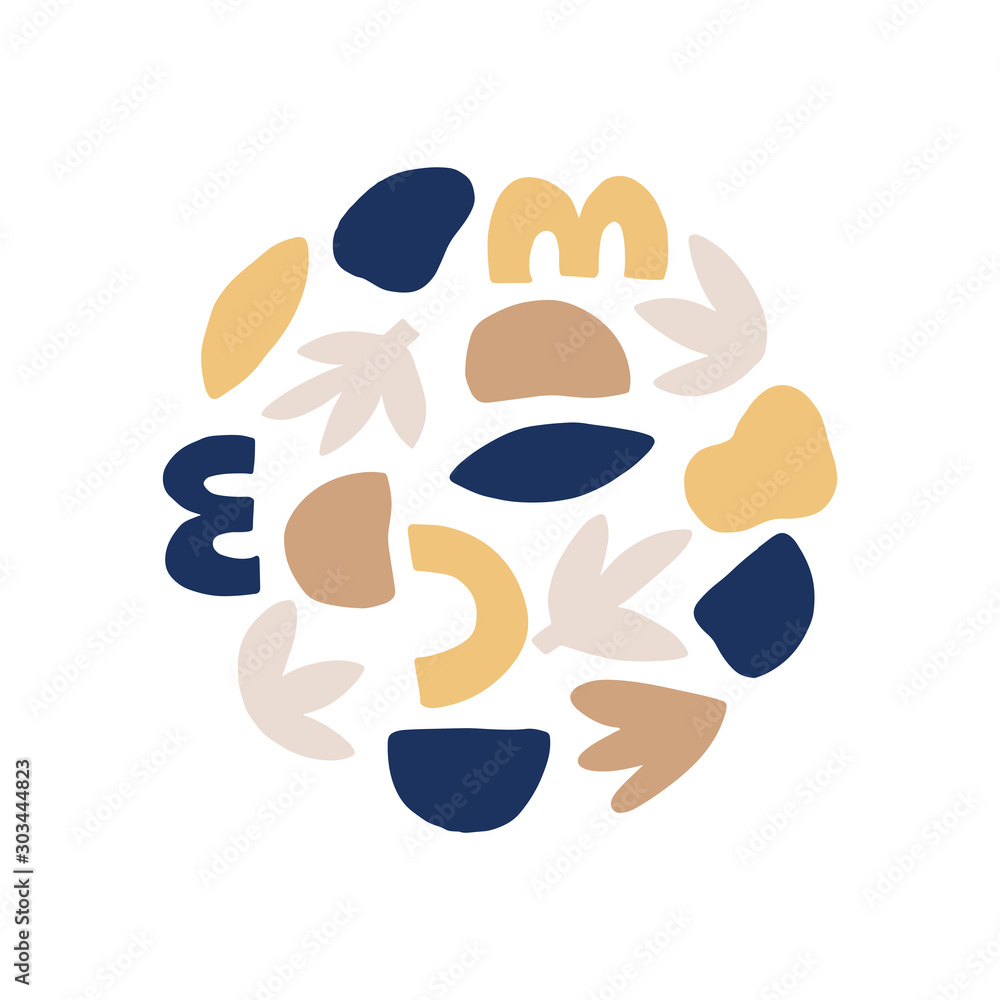 Contemporary round composition hand drawn vector illustration