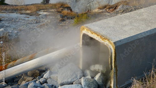 Fotografie, Obraz 危険な火山の蒸気