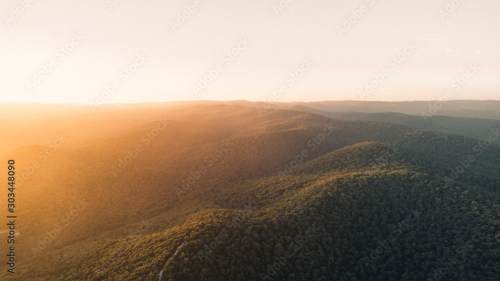 Fototapety, obrazy: Aerial View of Sunset Over Beautiful Forest Landscape Along the Great Ocean Road, Victoria Australia
