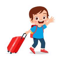 Happy Cute Kid Boy Pull Bag Go Travel