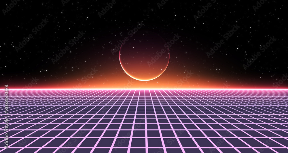 Fototapety, obrazy: Retro Sci-Fi Background Futuristic Grid landscape of the 80`s. Digital Cyber Surface. Suitable for design in the style of the 1980`s. 3D illustration