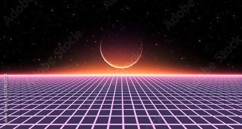 Retro Sci-Fi Background Futuristic Grid landscape of the 80`s Slika na platnu
