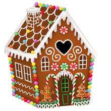 Gingerbread House With Christmas Candies, Gingerbread Man And Gingerbread Tree