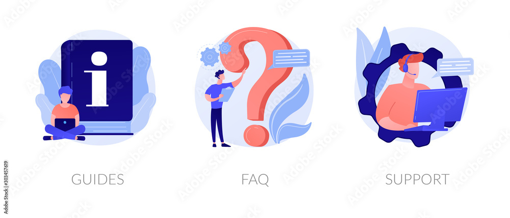 Fototapeta Info center, customer online communication web icons set. Helpdesk, clients assistance, helpful information. Guides, FAQ, support metaphors. Vector isolated concept metaphor illustrations