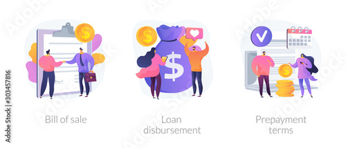 Fotografía Financial agreement signing flat icons set