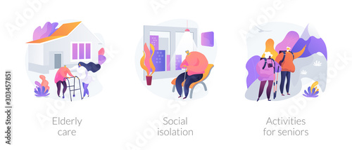 Fototapeta Senior people support flat icons set. Pensioners loneliness problem. Elderly care, social isolation, activities for seniors metaphors. Vector isolated concept metaphor illustrations. obraz