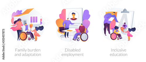 Obraz Handicapped people support and rehabilitation flat icons set. Social adaptation of disabled people, disabled employment, inclusive education metaphors. Vector isolated concept metaphor illustrations. - fototapety do salonu