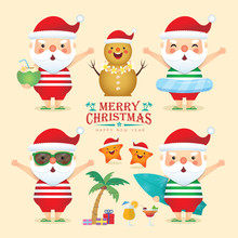 Set Of Summer Christmas Elements In Flat Vector Design. Cute Cartoon Santa Claus Wearing Sunglasses, Tank Top, Short Pants & Slippers With Cute Starfish & Sandman. Hot Christmas Item Collection.