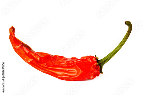 Autocollant pour porte Hot chili Peppers Pod of burning red hot chili pepper on white background. Isolated