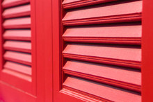 Selective Focus Of  Antique Red Wooden Window