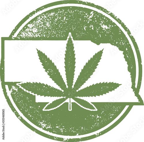 Nebraska State Marijuana or CBD Legal Rubber Stamp Wallpaper Mural