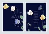Floral wedding invitation card template design, colorful pansies with green leaves on dark blue