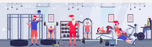 People And Santa Claus Doing Exercises Men Women In Hats Training Workout Concept Christmas New Year Holidays Celebration Healthy Lifestyle Modern Gym Interior Full Length Horizontal Vector