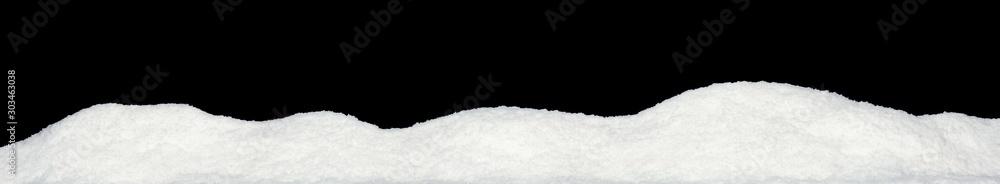 Fototapeta Banner of sparkling fuffy white snow hills isolated on black