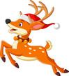 Cartoon deer in a santa hat jumping