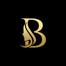 Letter B Beauty Women Face Log...