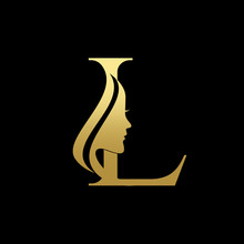 Letter L Beauty Women Face Log...