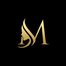 Letter M Beauty Women Face Logo Design Vector