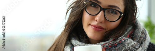 Fotografie, Tablou  Beautiful smiling girl hold in arms cup portrait