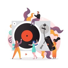 Vintage Vinyl Music Vector Concept For Web Banner, Website Page