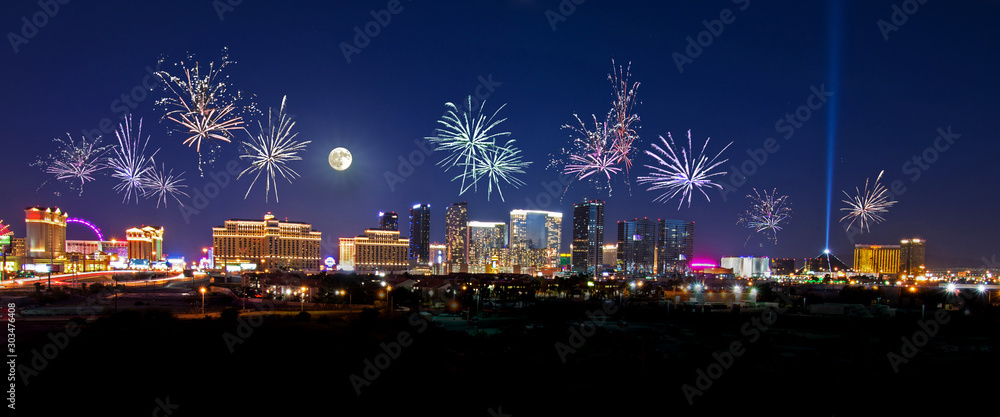 Fototapety, obrazy: Fireworks over the Las Vegas Strip