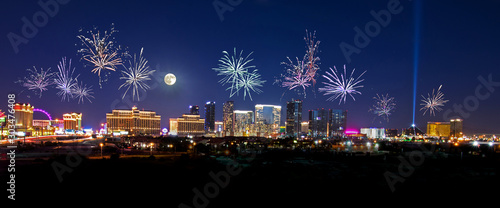 Fireworks over the Las Vegas Strip Canvas Print