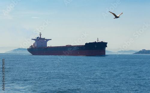 Large cargo ship at sea background Canvas-taulu