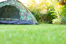 Tent Camping On Green Grass La...