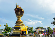 Nakhon Phanom,Thailand – October 08,2019 :This Is Lan Phanom Naka.It Is Landmarks Along Mekong River , Nakhon Phanom , Thailand