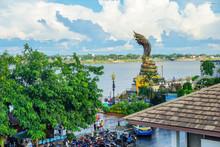 Nakhon Phanom,Thailand – October 08,2019 :This Is Lan Phanom Naka.It Is Landmarks Along Mekong River , Nakhon Phanom , Thailand