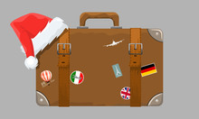 Old Style Vintage Brown Voyage Suitcase With Travel Stickers And Christmas Or Santa Claus Hat Or Cap. Vector Illustration.