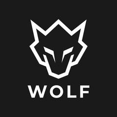 Sharp Wolf head line logo design