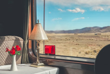 The Luxury Wooden Decoration With Comfortable Sofas And Fancy Table Lamps  Of The Perurail Titicaca Train. It Is From Cusco Across The Altiplano To Puno And Lake Titicaca In Southern Peru.