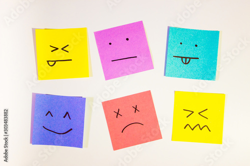 set of funny colored stickers with different emotions