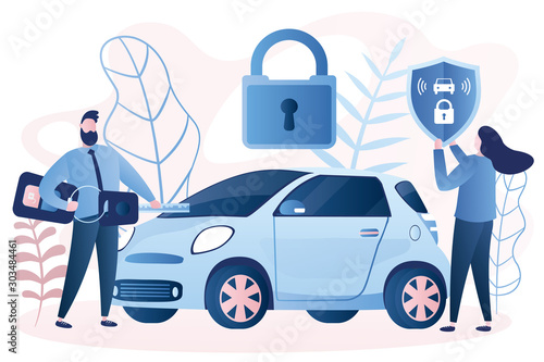 Photo Handsome businessman with car remote key and woman with shield at car with padlock