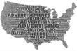 Advertising United States map word cloud