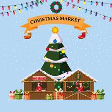 Christmas Souvenirs Market Stall Hot Drinks With Decorations. Big Christmas Tree Xmas Shop With Garlands Decorations.