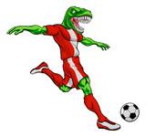 Fototapeta Dinusie - A dinosaur T Rex or raptor soccer football player cartoon animal sports mascot kicking the ball