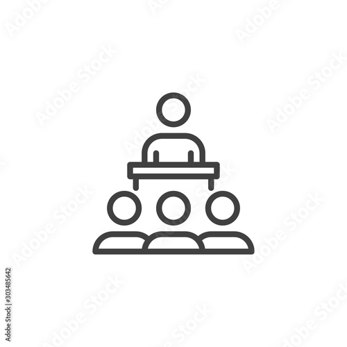 Photo Speaker and audience line icon