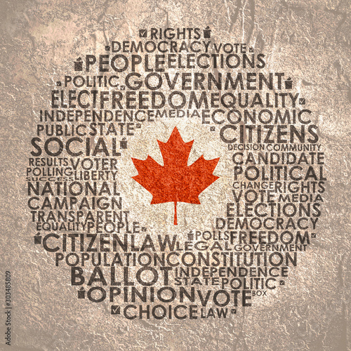 Obraz na plátne  Words cloud relative for voting. Circle frame. Flag of the Canada