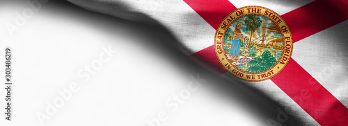 Fotomural  Fabric texture of the Florida Flag - Flags from the USA