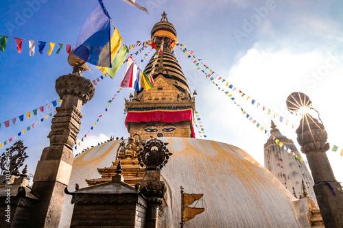 Carta da parati Swayambhunath Stupa or Monkey Temple Buddhist Monastery in Kathmandu, Nepal
