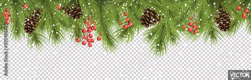 mata magnetyczna seamless christmas banner concept with fir branches and cones