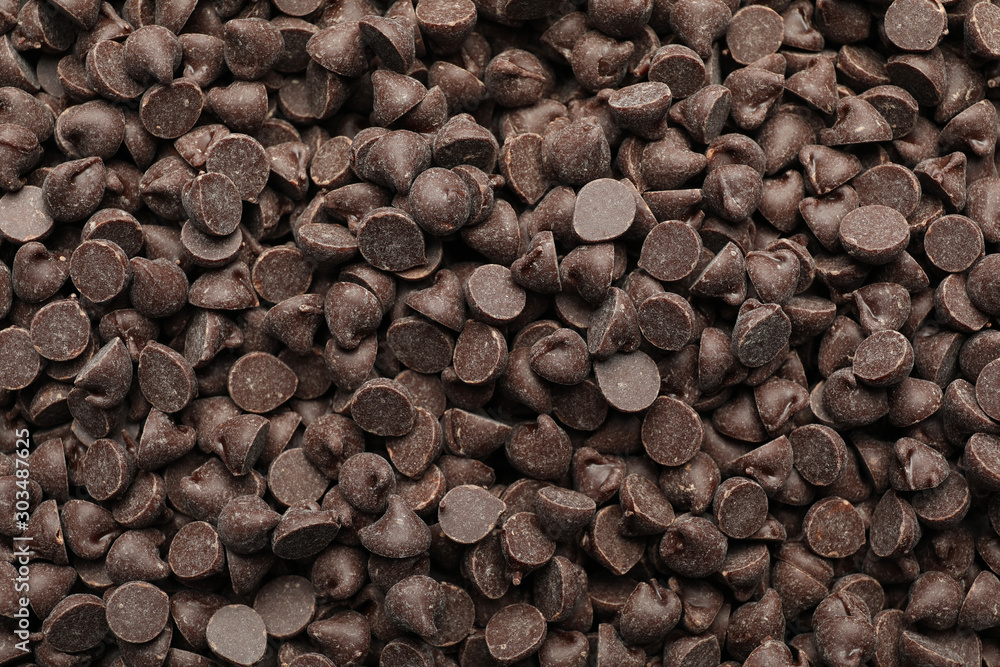 Fototapety, obrazy: Delicious chocolate chips as background, top view