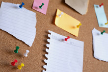 Collection Of Colorful Variety Post. Paper Note Reminder Sticky Notes Pin On Cork Bulletin Board. Empty Space For Text.